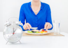 Schedule of the day. Day. Woman having dinner royalty free stock photo