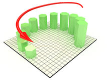 Schedule of decline of hexagonal cylinders №1 Stock Photos