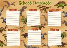 Schedule with dinosaurs on whole week, timetable. School timetable with dinosaurs and week days. Vector schedule of lessons with dino animals, weekly organizer stock illustration