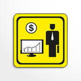 Schedule of financial gain. Vector icon. Black-and-white object on a yellow background. Black-and-white object on a yellow background.  Vector icon Stock Images