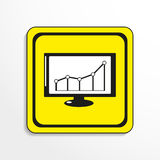 Schedule of financial gain. Vector icon. Black-and-white object on a yellow background. vector illustration