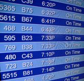 Schedule of flights. Flight departures board in airport, closeup. Abstract background Royalty Free Stock Photography
