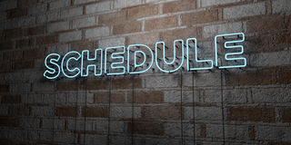 SCHEDULE - Glowing Neon Sign on stonework wall - 3D rendered royalty free stock illustration Royalty Free Stock Photo