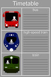 Schedule ground transportation. Bus, train, high-speed train Royalty Free Stock Image