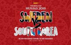 World Cup russia 2018 Grup f sweden vs south korea. A schedule grup F world cup 2018, sweden vs south korea royalty free illustration