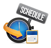 Schedule icon with clock. Illustration design over a white background Stock Images