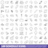 100 schedule icons set, outline style Royalty Free Stock Photo