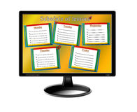Schedule of lessons for a week on the monitor Royalty Free Stock Image