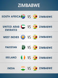 Schedule list of Zimbabwe matches for Cricket. Royalty Free Stock Images