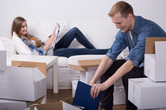 Schedule of moving out. Young people have a schedule of their moving out stock photos