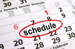 Schedule. Noted on a calendar stock photo