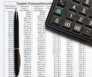 Schedule of payments on the credit and calculator Royalty Free Stock Image