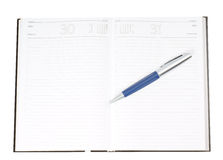 Schedule planner. And a Pen on your Desk Stock Image