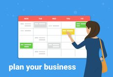 Schedule planner concept vector illustration of young woman standing near big calendar and planning working week. Flat design of business people fulfilling Stock Illustration