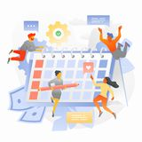 Schedule a Project Plan Illustration with Tiny People. Business team is planning a project schedule. Trendy vector illustration for business planning, news, and stock illustration