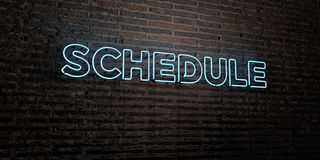 SCHEDULE -Realistic Neon Sign on Brick Wall background - 3D rendered royalty free stock image Royalty Free Stock Images