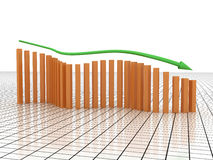 Schedule of recession from the green arrows №1 Stock Photos