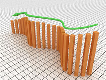 Schedule of recession from the green arrows №3 Stock Image