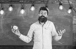 Schedule and regime concept. Man with beard and mustache on confused face expression in classroom. Bearded hipster holds. Clock, chalkboard on background royalty free stock photos