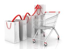 The schedule of the sales(Dolly for shopping,packages) Stock Image