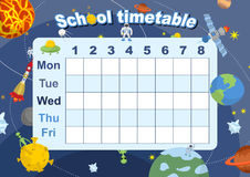 Schedule. school timetable on theme of space and Galaxy Stock Photography