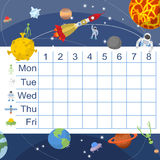 Schedule for students. Table with lessons for children. Space de royalty free illustration