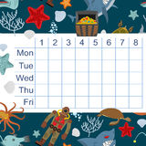 Schedule for students. timetable with lessons for children.  Stock Images