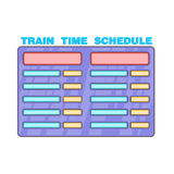 Schedule time of trains icon, cartoon style. Schedule time of trains icon in cartoon style isolated on white background. Time symbol Stock Image