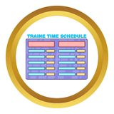 Schedule time of trains vector icon. In golden circle, cartoon style isolated on white background Stock Images