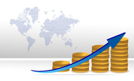 Schedule to increase profits coins graph Stock Photography