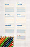 Schedule for the week. Blank school schedule for the week royalty free stock images