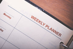Schedule. Weekly Menu on white note paper. memo. schedule planing concept stock images
