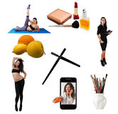 Daily schedule of young woman. Daily schedule of young women - concept Stock Images