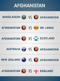 Scheduled list of Afghanistan matches for Cricket. Stock Images