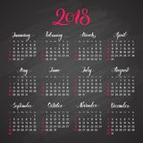 Scheduler, 2018, dark background, lettering, flat. Stylish annual calendar for modern people. Vector illustration of chart Royalty Free Stock Photo