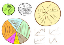 Schedules and charts. Clipart with a set of various drawn charts and schedules Stock Photo