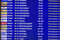 schedules flights departing aircraft at the airport Royalty Free Stock Photography