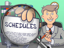 Schedules through Lens. Doodle Concept. Royalty Free Stock Image