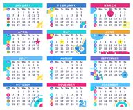 Scheduling calendar for 2019, Template design, set of 12 months. Basis for illustrations and postcards. Vector illustration.  vector illustration