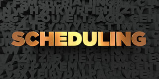 Scheduling - Gold text on black background - 3D rendered royalty free stock picture. This image can be used for an online website banner ad or a print postcard Royalty Free Stock Photos