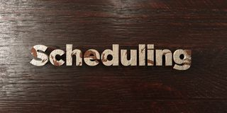 Scheduling - grungy wooden headline on Maple  - 3D rendered royalty free stock image. This image can be used for an online website banner ad or a print Stock Photos