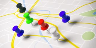 Colorful push pins, on a map background. 3d illustration. stock illustration