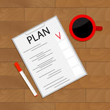 Scheduling tasks top view. Organize checklist project, vector work analysis, illustration of business view top Stock Image