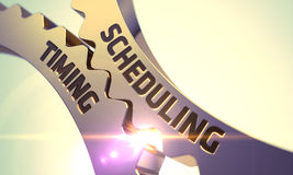 Scheduling Timing Concept. Golden Metallic Cog Gears. 3D. Scheduling Timing - Illustration with Glow Effect and Lens Flare. 3D Render Stock Photo