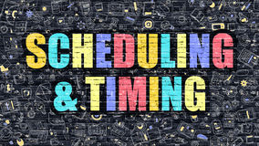 Scheduling and Timing in Multicolor. Doodle Design. Scheduling and Timing Concept. Scheduling and Timing Drawn on Dark Wall. Scheduling and Timing in Multicolor Stock Image