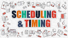 Scheduling and Timing in Multicolor. Doodle Design. Scheduling and Timing Concept. Scheduling and Timing in Multicolor. Doodle Design. Modern Style Illustration Stock Photography