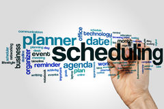 Scheduling word cloud. Concept on grey background Stock Photo