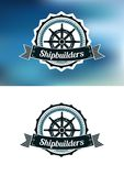 Scheepsbouwers heraldische banner of embleem Royalty-vrije Stock Afbeeldingen