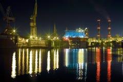 Scheepswerf bij nacht Stock Afbeelding