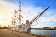 Scheepswerf in de stad van Gdynia bij Oostzee Royalty-vrije Stock Fotografie